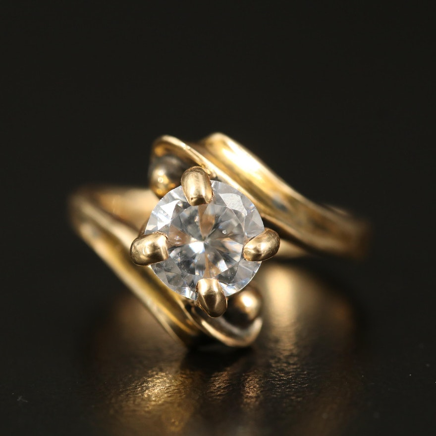 14K Cubic Zirconia Bypass Ring