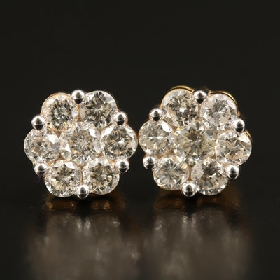 10K 2.16 CTW Diamond Cluster Earrings