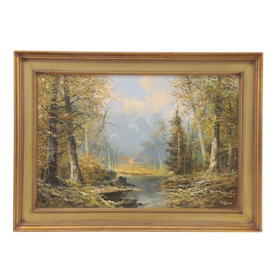 Josef Kugler Forest Landscape Oil Painting, Late 20th Century