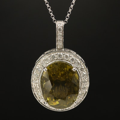 18K 12.76 CT Tourmaline and Diamond Pendant on 14K Rolo Chain Necklace