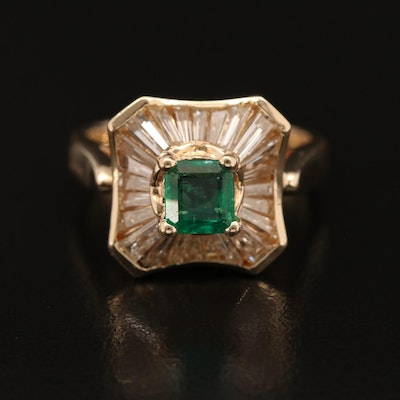 14K Emerald and Diamond Ballerina Style Ring