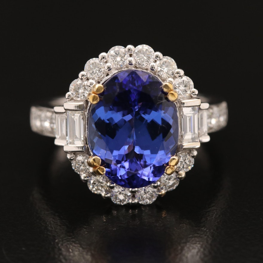 14K 4.09 CT Tanzanite and 1.39 CTW Diamond Ring