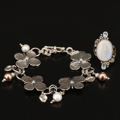 Sajen Sterling Rainbow Moonstone, Topaz and Pearl Ring with Butterfly Bracelet
