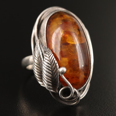 Sterling Silver Amber Ring with Foliate Accents