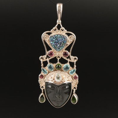 Sajen Sterling Druzy, Obsidian and Aquamarine Buddha Pendant
