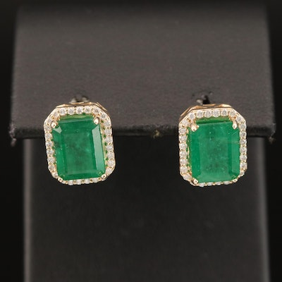 14K 3.76 CTW Emerald and Diamond Earrings