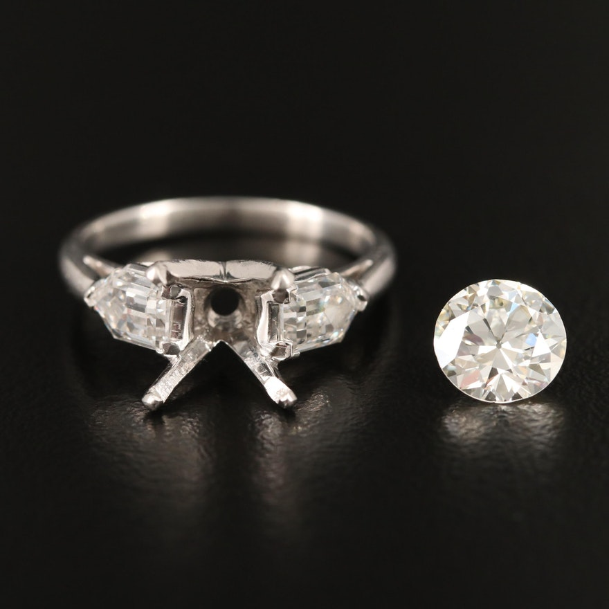 Platinum 1.10 CTW Diamond Semi-Mount and 1.45 CT Loose Diamond with GIA Report