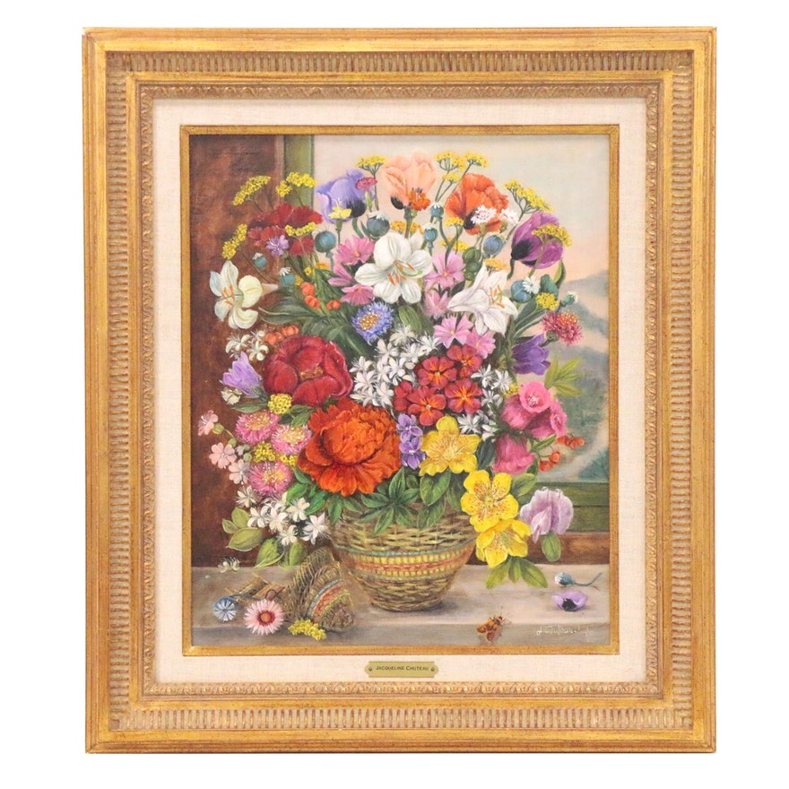 Jacqueline Chuteau Floral Still Life Oil Painting