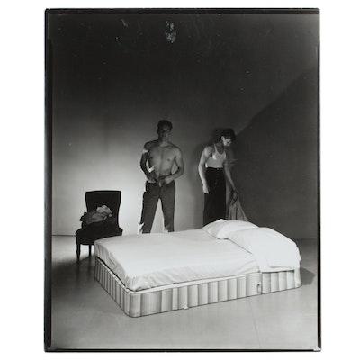 George Platt Lynes Silver Gelatin Print of Undressing Male Figures