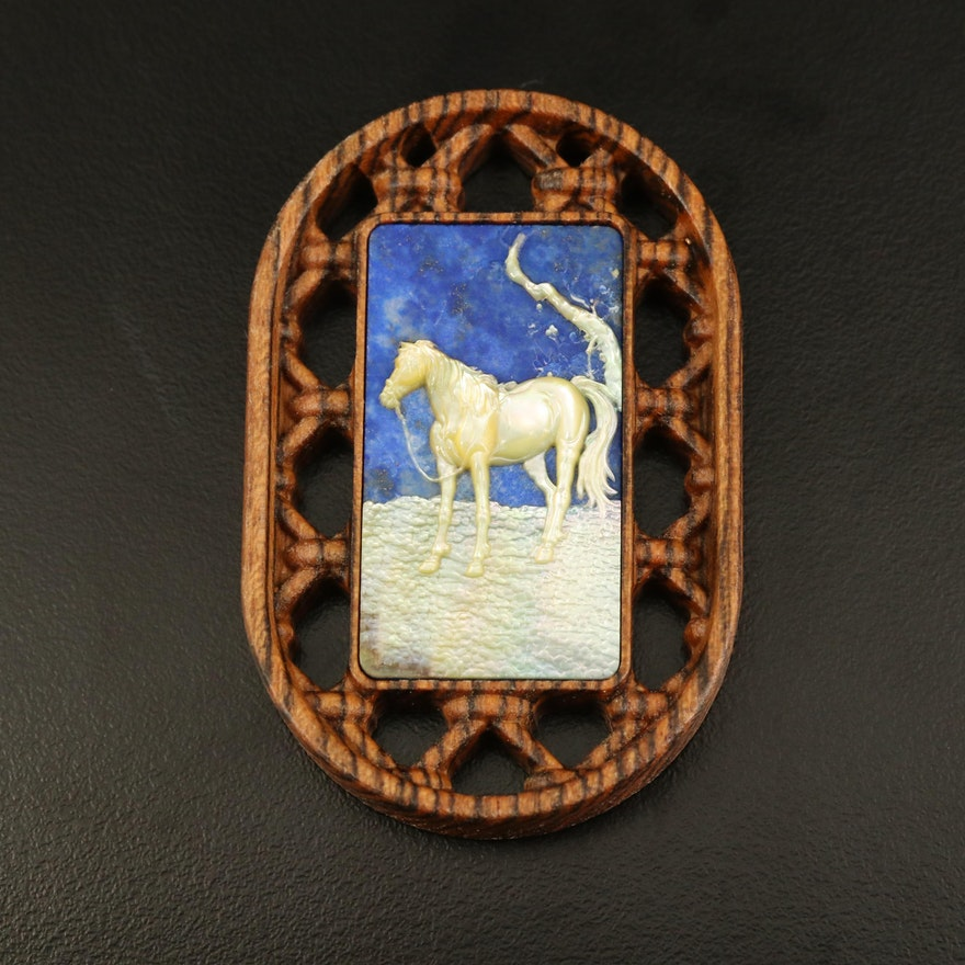 Carved Lapis Lazuli, Mother of Pearl and Wood Horse Pendant