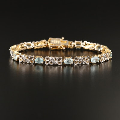 Sterling Silver Topaz and Diamond Bracelet
