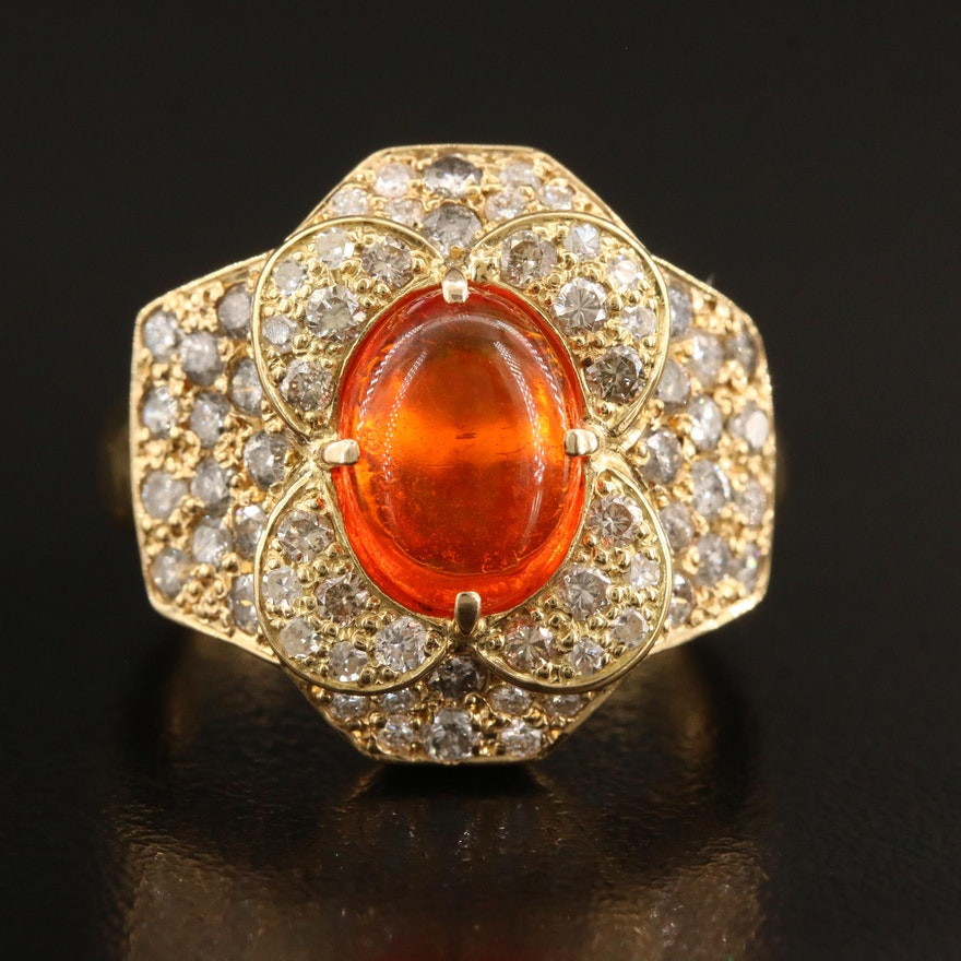 18K Fire Opal and 2.01 CTW Diamond Halo Ring
