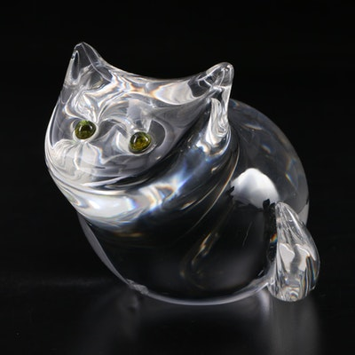 Steuben Art Glass Cat Figurine Designed by Donald Pollard, 1973