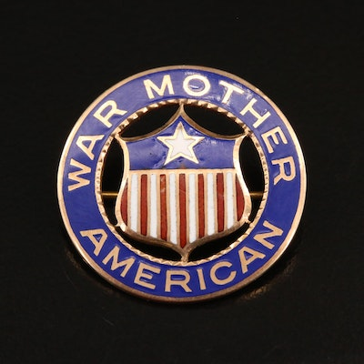 "10K Enamel ""American War Mother"" Brooch"