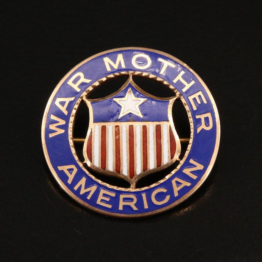 """10K Enamel """"American War Mother"""" Brooch"""