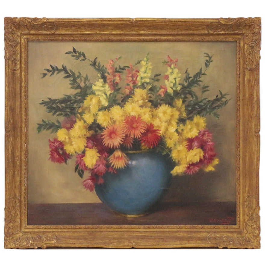 Roland Hinton Perry Still Life Oil Painting of Chrysanthemums, 1934