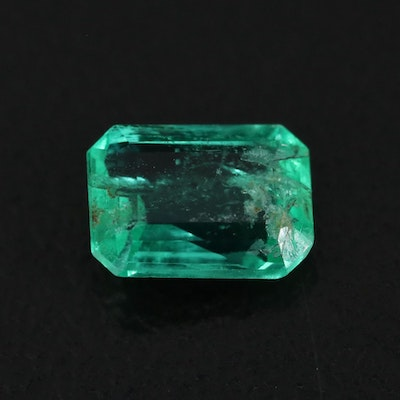 Loose 0.76 CT Cut Cornered Rectangular Faceted Emerald