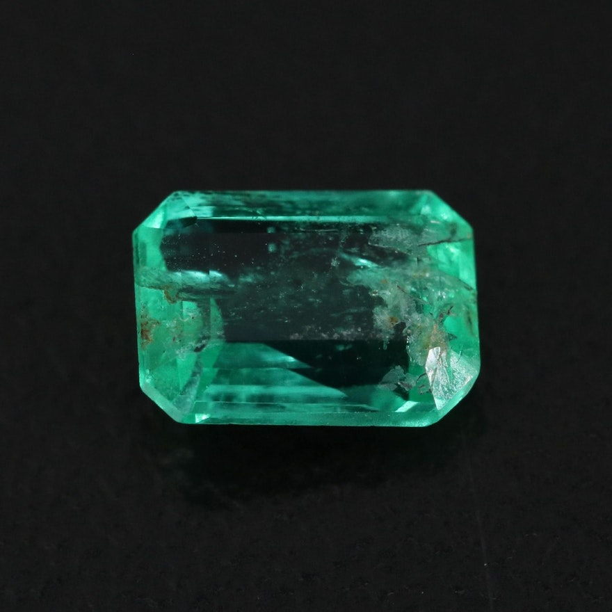 Loose 0.76 CT Cut Cornered Rectangular Faceted Emerald