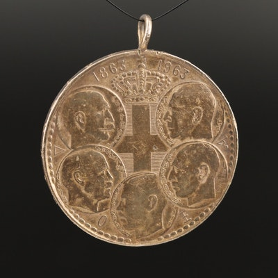1963 Greece Commemorative 30-Drachmai Silver Coin Pendant