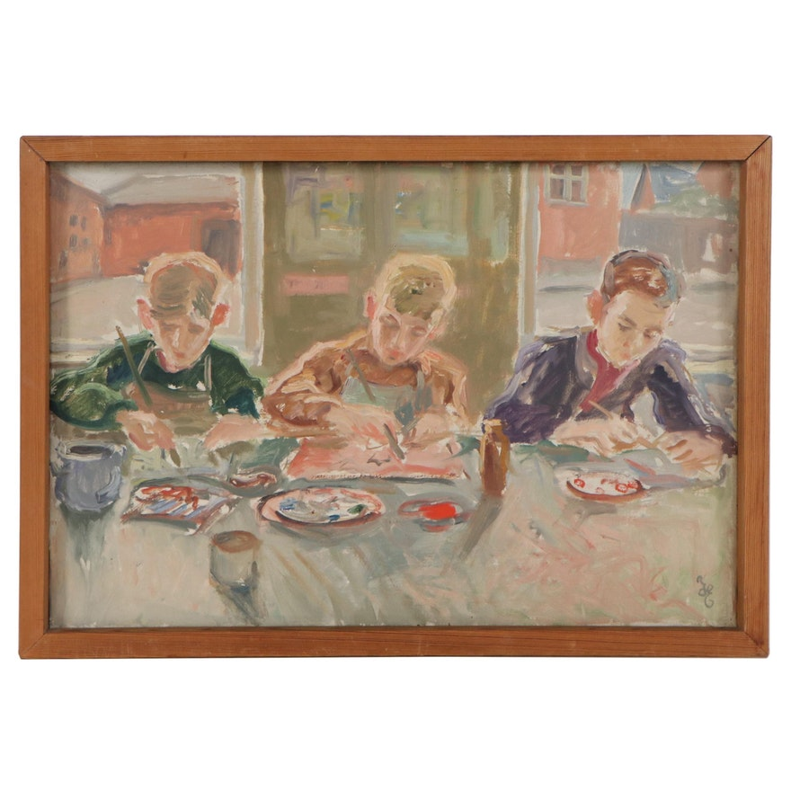 """Hans Eriksen Oil Painting """"Moo Ikke Ferniseres!"""" 1955"""