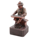 Hand Carved Polychrome Man in Lederhosen Playing a Zither