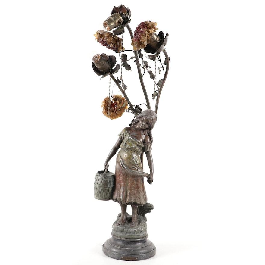 "Art Nouveau Style ""Cosette"" After Moreau Spelter Table Lamp, Mid-20th Century"