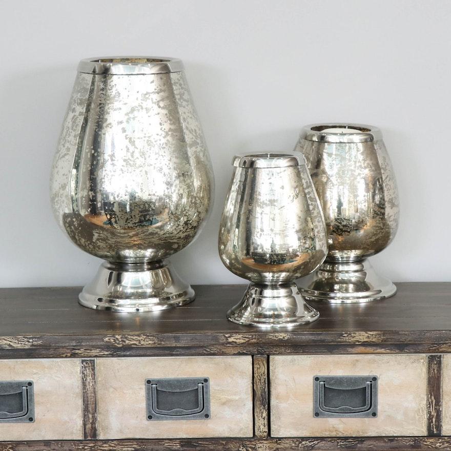 Graduated Mercury Glass Hurricane Vases, Contemporary