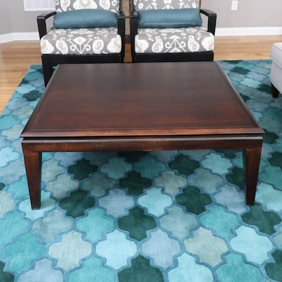 Walnut-Stained Wood Coffee Table