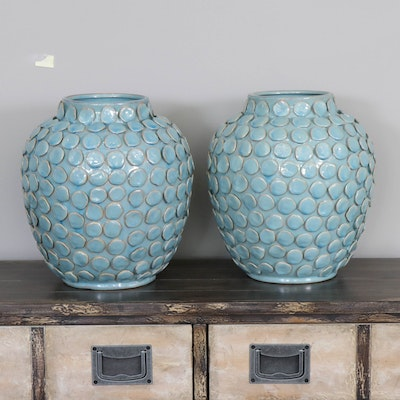 Modern Sky Blue Textured Ceramic Vases