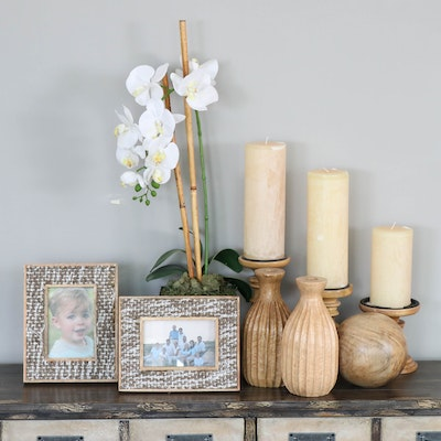 Carved Wood Candleholders and Decor with Potted Faux Orchids, Contemporary