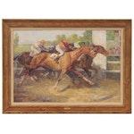 "Arthur E. Becher Equine Oil Painting ""Win, Place, Show,"" circa 1930"