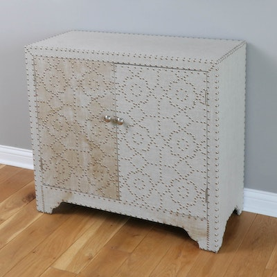Fabric Upholstered Side Cabinet with Nail Head Floral Design