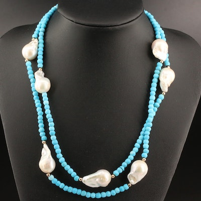 Endless Howlite Beaded Necklace with Pearl Stations
