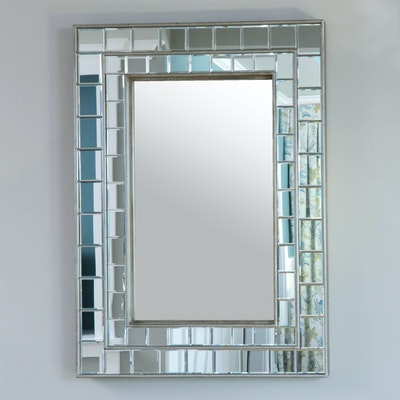 Paneled Tessellated Silver Wall Mirror