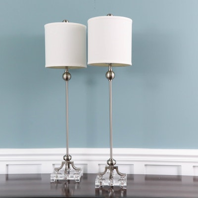 "Uttermost ""Bellamy"" Brushed Nickel and Acrylic Buffet Lamps with Drum Shades"