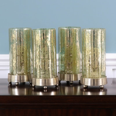Four Modern Smoke Glass Candleholders with Candles