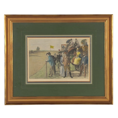 """Hand-Colored Wood Engraving after William T. Smedley """"At the Pony Races,"""" 1891"""