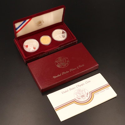 1984 Proof Olympic Gold and Silver Commemorative Three-Coin Proof Set