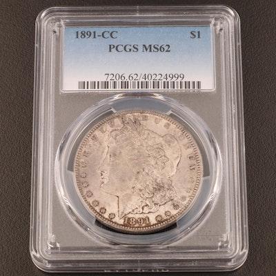 PCGS Graded MS62 1891-CC Morgan Silver Dollar