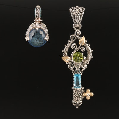 Sterling Key and Globe Pendants Including Barbara Bixby and 18K Accents