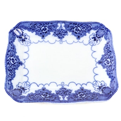 "Samuel Ford & Co. ""Lonsdale"" Rectangular Flow Blue Platter, Antique"