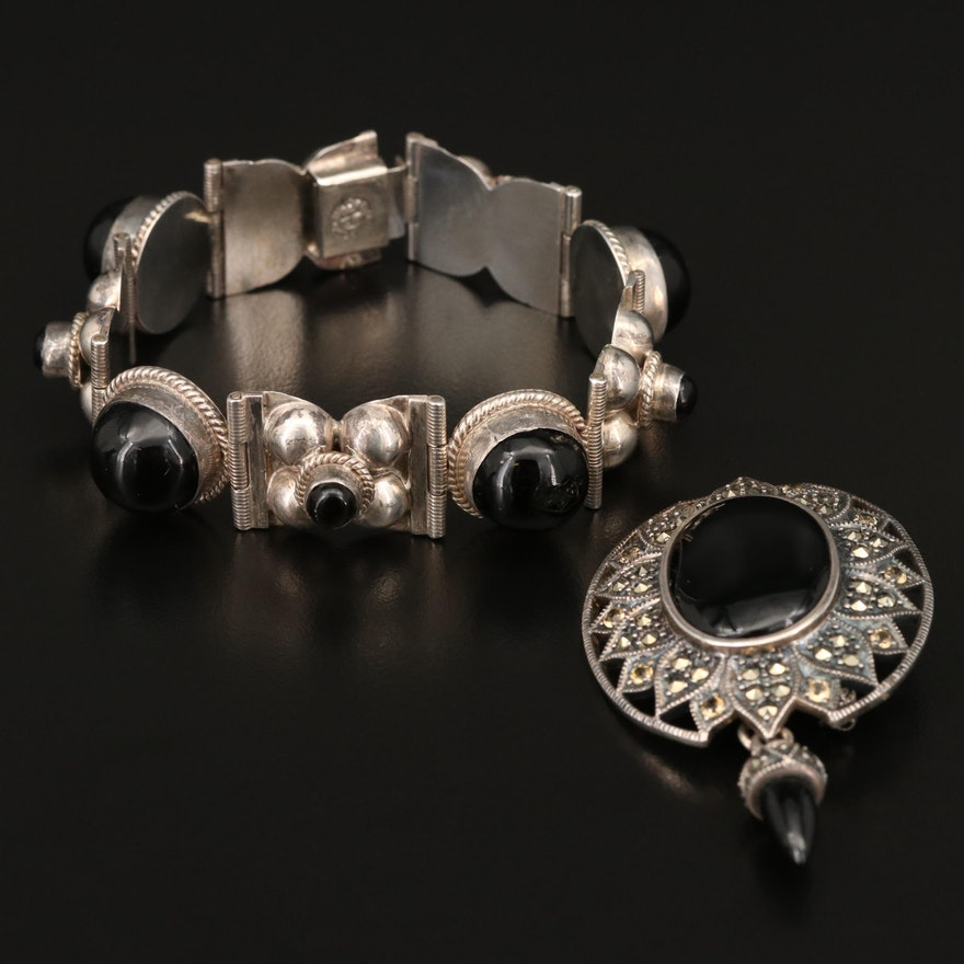 Sterling Brooch and Link Bracelet Featuring Black Onyx, Marcasite and Citrine