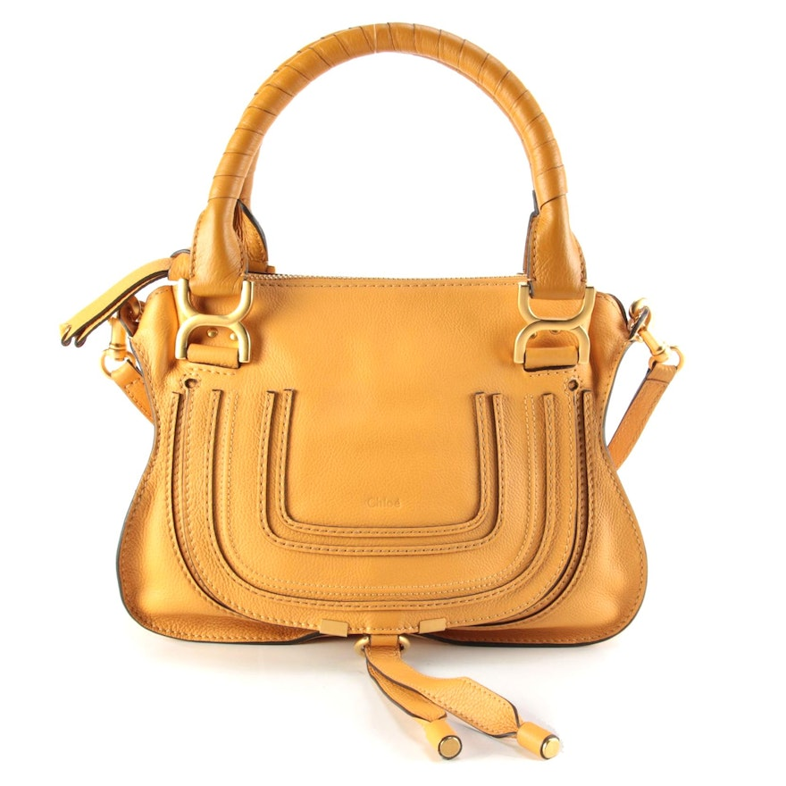 Chloé Marcie Leather Two-Way Satchel in Butterscotch