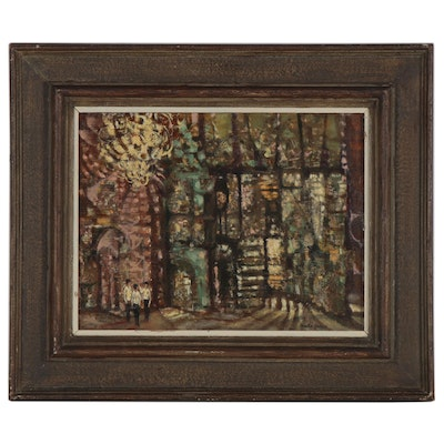 "Martin Jackson Oil Painting ""Enchanted Doorway,"" Mid-20th Century"