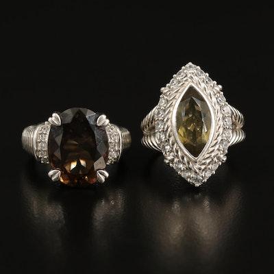 Judith Ripka Sterling Smoky Quartz, Cubic Zirconia and Citrine Rings