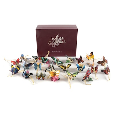 The Danbury Mint Butterfly Ornaments with Original Box