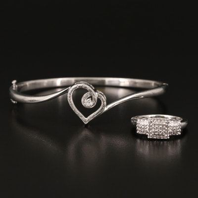 Sterling Diamond Ring with Loves Embrace Bangle