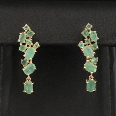 Sterling Silver Green Beryl Drop Earrings