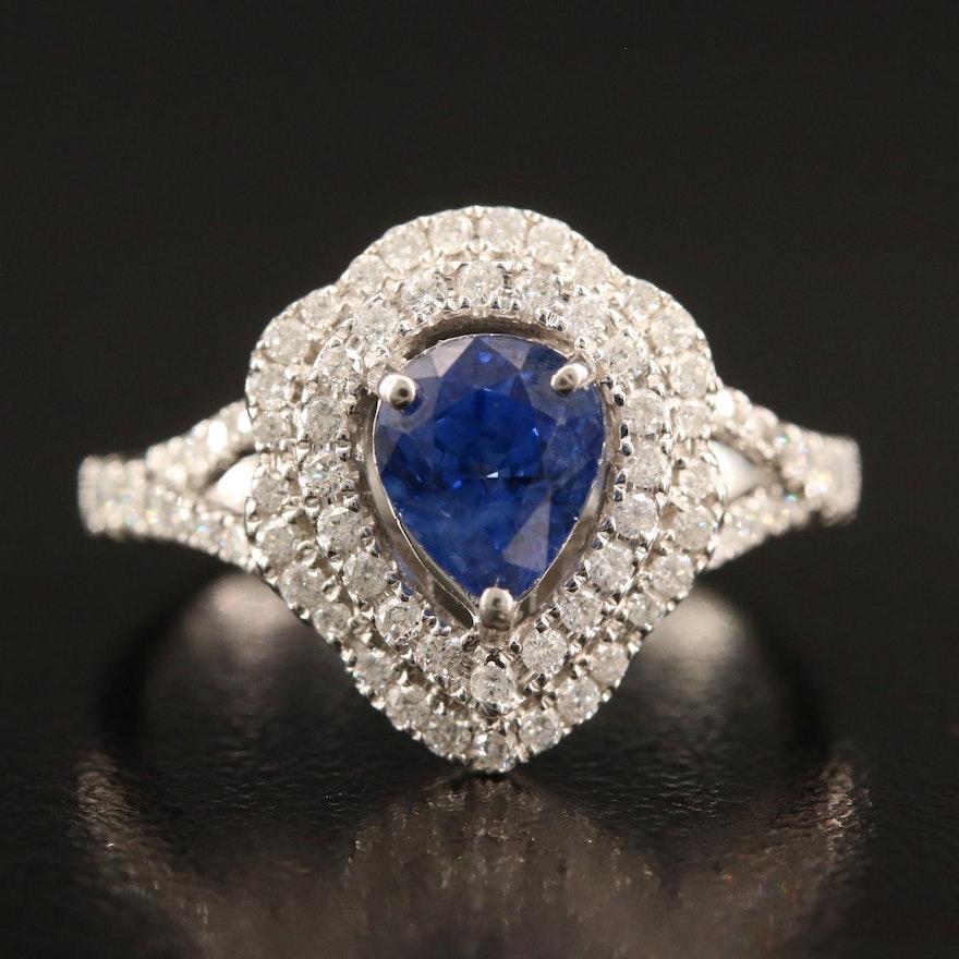 14K 1.61 CT Sapphire and Diamond Ring