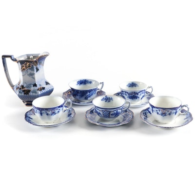 "Johnson Bros. ""Jewel"" with Other Flow Blue Teacups and Milk Jug"